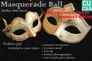 CUCSA Ball: Last Chance Ticket Sale