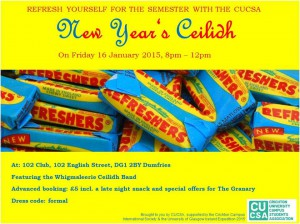 CUCSA New Year Ceilidh – 16th Jan 2015