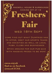 #DumfriesFreshers – Wed 18th