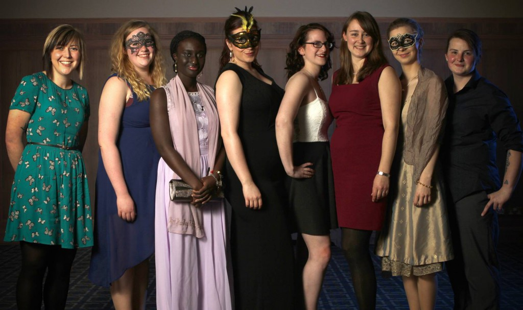 Sam (far left) with some other CUCSA executive members at las year's Masquerade ball